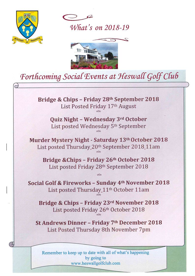 Forthcoming Social Events September 2018 – December 2018