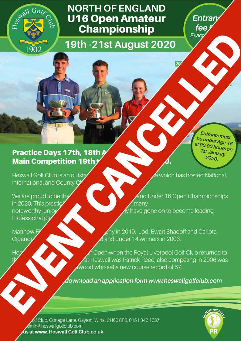North of England Under 16 Championships Cancellation – August 2020