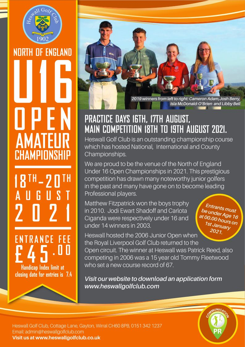 NORTH OF ENGLAND Under 16 Open Amateur Stroke Play Championship – August 2021