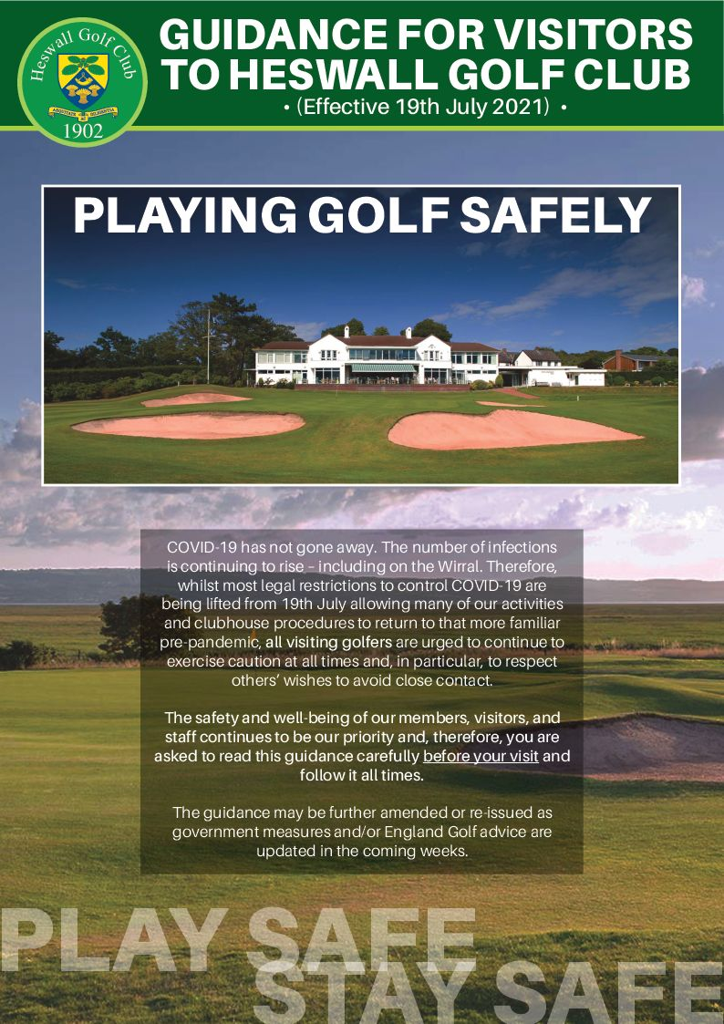 Visitor Play Safe/Stay Safe Guidance – Effective 19th July 2021