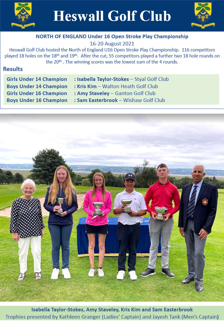 North of England Under 16 Open Stroke Play Championship August 2021